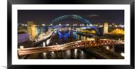 Newcastle Bridges at Night, Framed Mounted Print