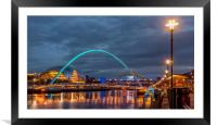 Beautiful bridges and quayside at night, Framed Mounted Print