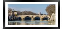 Sisto Bridge and the dome of Saint Peter, Rome , Framed Mounted Print