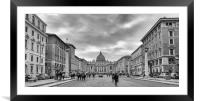 Monochrome Street view St Peters, Framed Mounted Print