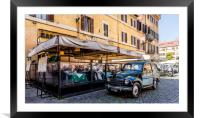 Car and Restaurant Italy , Framed Mounted Print