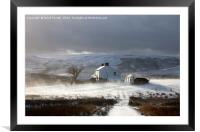 Remote Farm With Wind Blown Snow , Framed Mounted Print