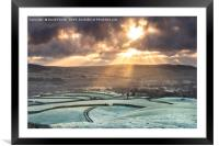 Spectacular Crepuscular Rays Over the North Pennin, Framed Mounted Print