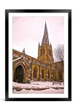 The Crooked Spire In The Snow, Framed Mounted Print