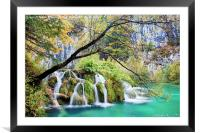 Waterfall in Autumn Scenery, Framed Mounted Print