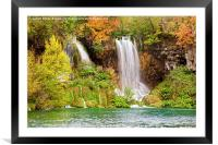 Waterfalls in Autumn Scenery, Framed Mounted Print