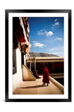 Two old Buddhist monks of Drepung Monastery, Tibet, Framed Mounted Print