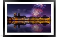 Firework display over town and river, Framed Mounted Print