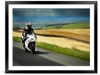 motorcycle racer, Framed Mounted Print