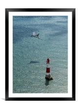 Avro Vulcan low pass over Eastbourne lighthouse, Framed Mounted Print