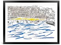 St Ives Harbour beach, Framed Mounted Print