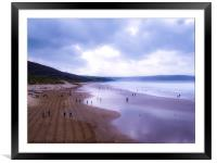 Woolacombe beach, winters day walk. Paint effect., Framed Mounted Print