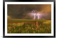 Double rainbow and lightning, Framed Mounted Print
