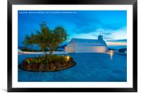 Whitewashed church in Oia at dusk., Framed Mounted Print