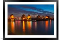 Thames Barrier at night, Framed Mounted Print