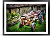 HDR Rusty tractor , Framed Mounted Print