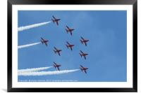 RAF Red Arrows performing at Swansea Air Show 2016, Framed Mounted Print