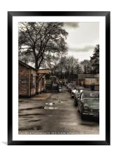 Classic cars at station , Framed Mounted Print