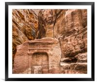 Relief Sculpture among the Rocks -  Petra, Framed Mounted Print