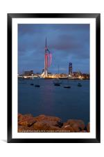 Spinnaker Tower in Red, Framed Mounted Print