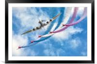 Spitfire leads the Red Arrows Display, Framed Mounted Print
