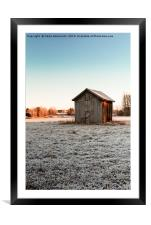Tiny Barn House On The Frosty Fields, Framed Mounted Print