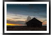 Barn House Silhouette On A Spring Night, Framed Mounted Print