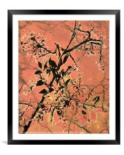 Floral Grungy Style Artwork , Framed Mounted Print