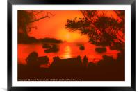 Sunset at the Caribbean Bay of Taganga in Colombia, Framed Mounted Print