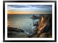 Sunset at the cliffs in Arrifana, Framed Mounted Print