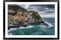 Stormy Early Morning in Manarola, Framed Mounted Print
