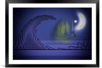 Surfers in the light of the Moon, Framed Mounted Print