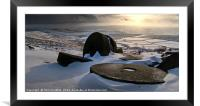 Abandoned Millstones at Stanage Edge in Winter, Framed Mounted Print
