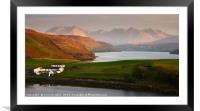 Late evening sunlight on Gesto Farm           , Framed Mounted Print
