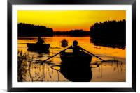Boats on the sunset, Framed Mounted Print