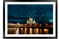 Illuminated Cathedral of Christ the Savior framed , Framed Mounted Print