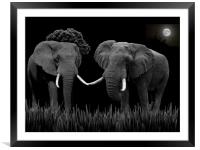 Bull Elephants Compete, Framed Mounted Print
