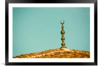 Islamic Religion Crescent Moon Sign On Mosque, Framed Mounted Print