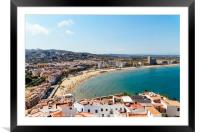 Aerial Panoramic View Of Peniscola City In Spain, Framed Mounted Print
