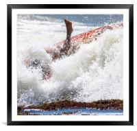 foot immersed in the surf, Framed Mounted Print