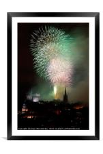 Edinburgh Festival Fireworks from Salisbury Crags, Framed Mounted Print