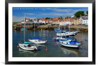 Yachts at anchor in St Monans harbour, Framed Mounted Print