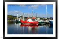 Fishing boats in Strahan harbour, Tasmania, Framed Mounted Print
