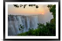 """The smoke that thunders"" - Victoria Falls sunrise, Framed Mounted Print"