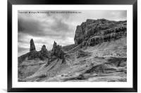 Old Man of Storr mono, Framed Mounted Print