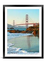 World famous Golden Gate Bridge with a scenic beac, Framed Mounted Print