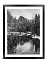Dramatic winter view of Half Dome., Framed Mounted Print
