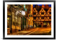 Steep Hill in Lincoln , England at Night, Framed Mounted Print