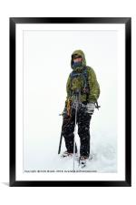 Mountaineer in a blizzard, Framed Mounted Print