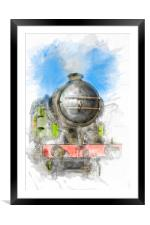 Watercolour Steam Engine, Framed Mounted Print